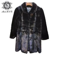 2019 Winter Warm Thick High Quality Genuine Leather Parka Fashion Long Real Mink Fur Coat
