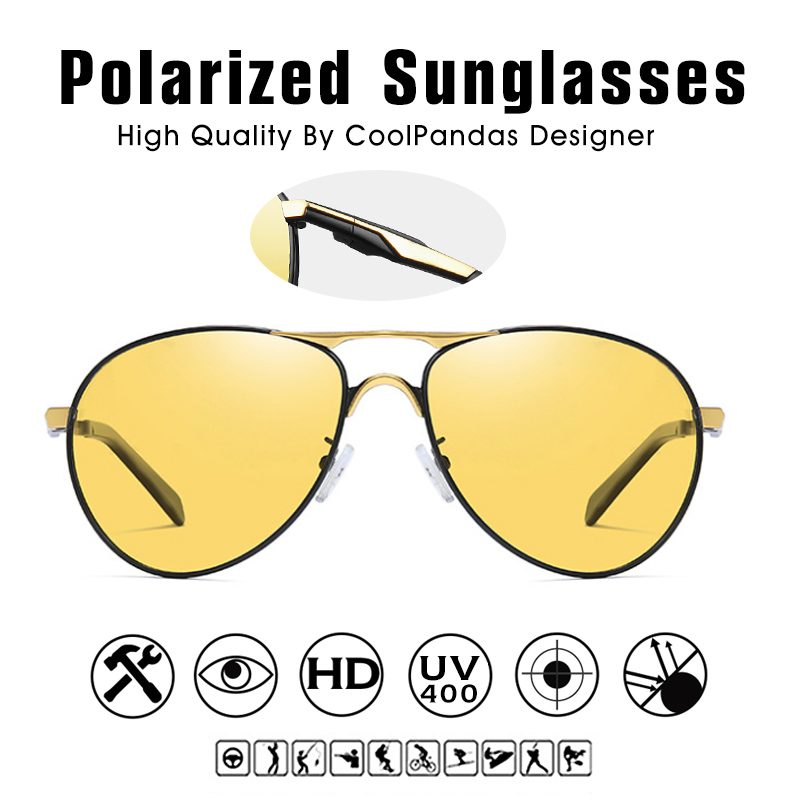 CoolPandas Top Quality Aviation Men Sunglasses Polarized Driving Photochromic Day Night Vision Goggle Pilot Glasses Women UV400