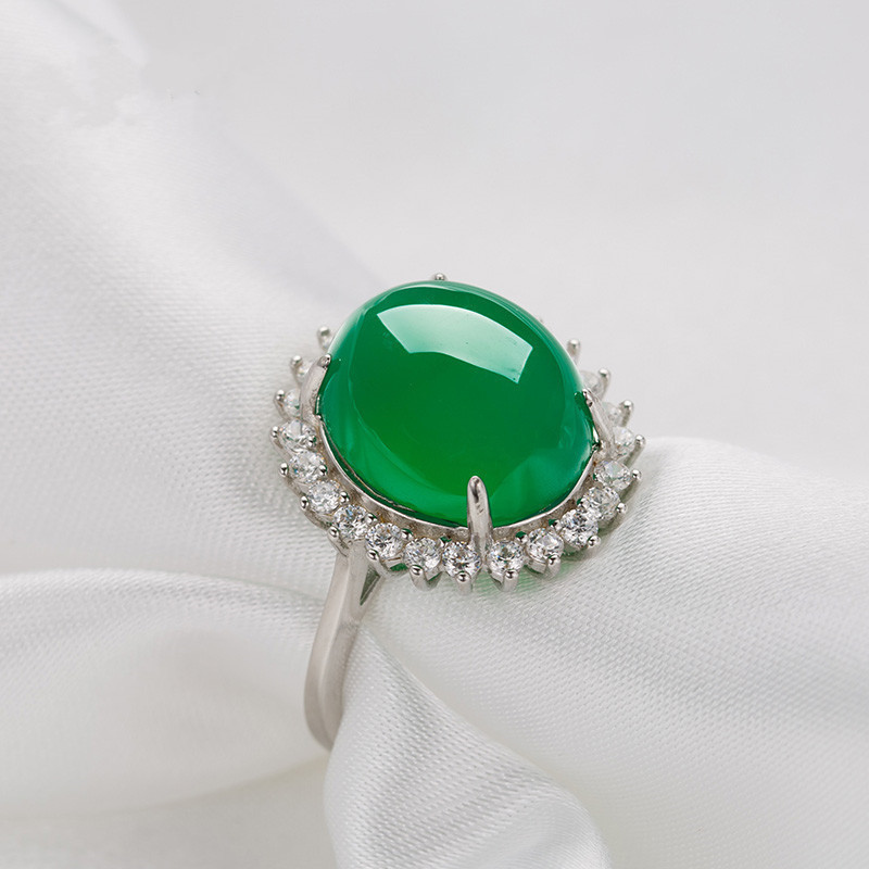 Charm Green Jade Silver 925 Ring Ethnic Vintage Emerald Gemstone Wedding Engagement Rings For Women Female Fine Jewelry Gifts