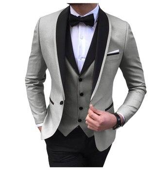 Blue Slit Mens Suits 3 Piece Black Shawl Lapel Casual Tuxedos for Wedding Groomsmen Suits Men 2020 (Blazer+Vest+Pant) 13