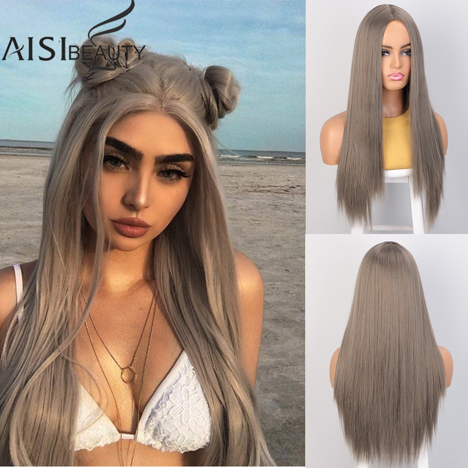 AISIBEAUTY Wigs For Women Omber 26inches Long Straight Wig Synthetic Wig Middle Part High Temperature Fiber Hair For Black Women