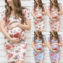 цена на Summer Maternity O-Neck Dress Maternity Clothes Casual Floral Print Pregnant Women Dresses Vestidos Pregnancy Clothing Plus Size