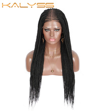 Braided Wig Cornrow-Braids Synthetic Frontal Lace-Front Kalyss Black Women for Box 27-Inches