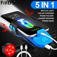 Luce per bicicletta USB ricarica solare 5 IN 1 supporto per telefono a tromba multifunzione lampada frontale torcia per bici Led lanterna per bicicletta
