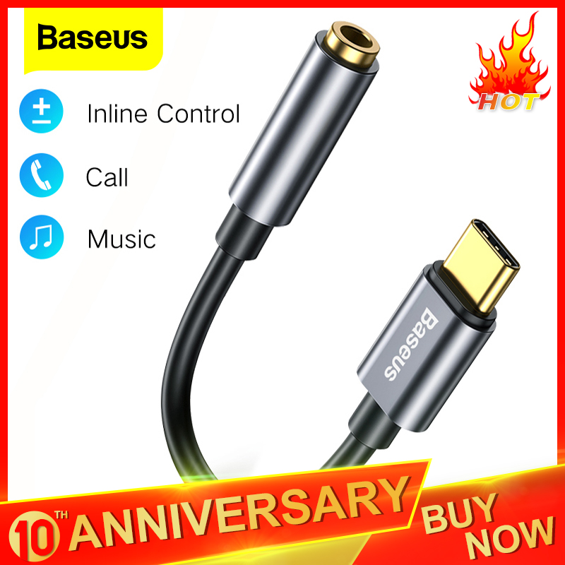 Baseus USB Type C To 3.5mm Jack OTG Adapter USB-C Type-C To 3.5 Mm Headphone Audio Aux Cable For Huawei Xiaomi Mi 9 8 Oneplus 7