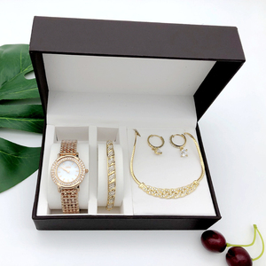 Fashion bracelet and watch women magnet gift box set swan lazy watch female luxury diamond starry wristwatch roman gift clock(China)
