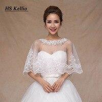 Elegant Wedding Cape Lace Appliqed Dotted Tulle Ivory Bridal Shawls Jacket