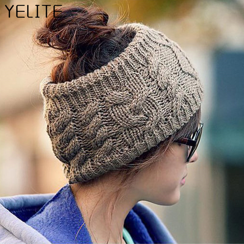 YELITE Soft Knit Ponytail   Beanie   Winter Hats For Women Stretch Crochet Messy No Top Hat Warm Knitted Cap Snap   Skullies   Bonnet