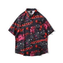 Men Shirt Short Sleeve 2021 New Arrival Summer Fashion Loose Male Shirt Thin Graffiti Cartoons Letter Student Korean Style S51