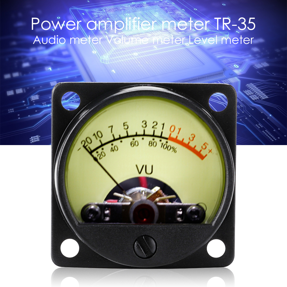 TR-35 VU Meter Power AMP Amplifier DB Table Audio Level Head Meter Sound Pressure Meter with Back Light Accurate Household Tools