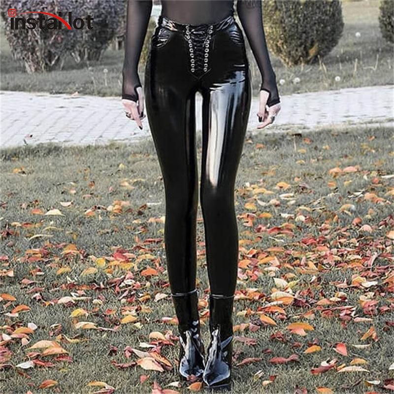 InstaHot Sexy Faux Leather Painted Pants Lace Up High Waist Slim Skinny Leggings Gothic Punk Trouser Ladies Pencil Pants Casual