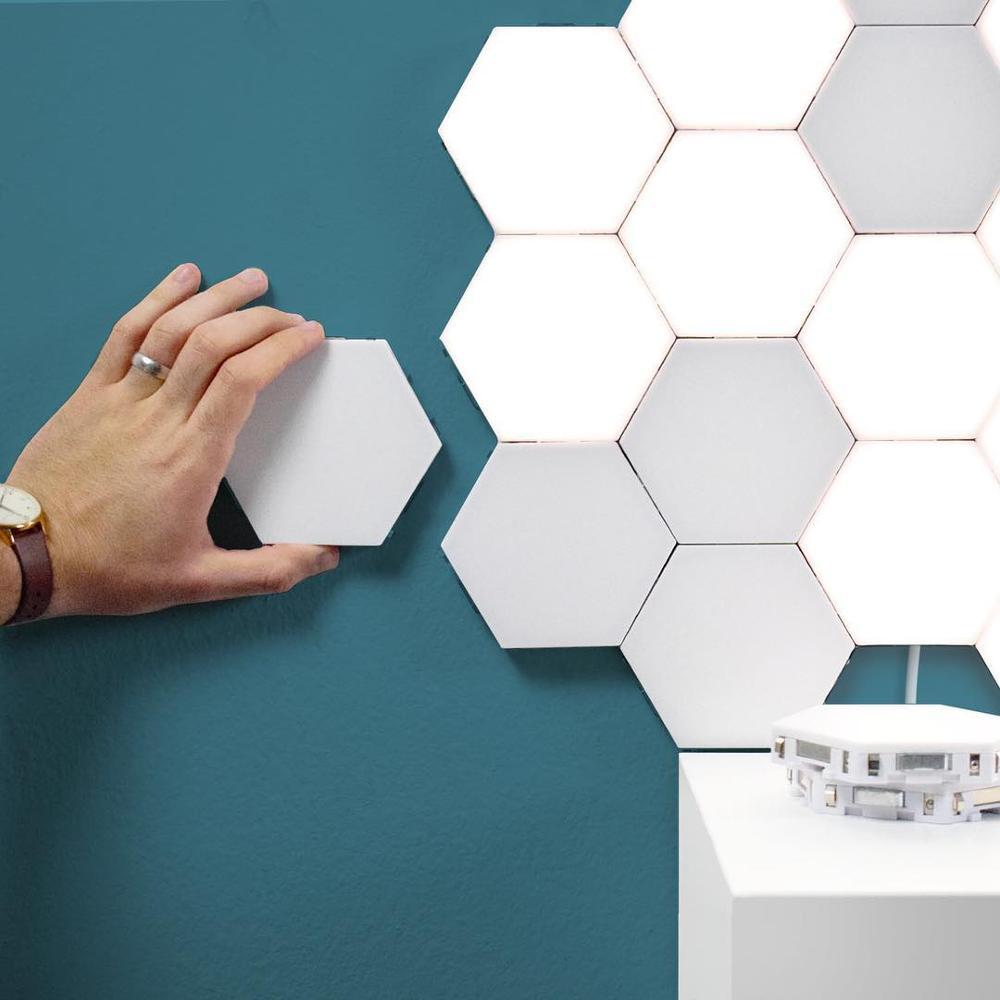 Fss Quantum Lamp LED Modular Touch Lamp Touch Sensitive Wall Light Hexagonal Magnetic Tiles Night Lights Wall Sconce Bedside