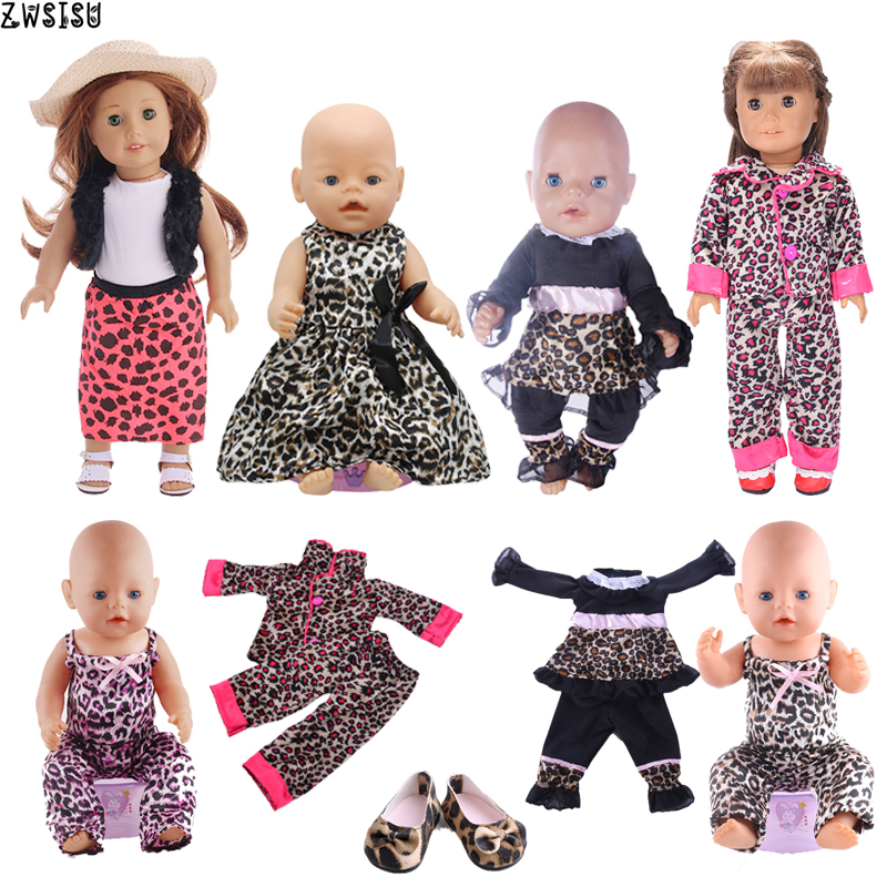 Doll Clothes Leopard Series Dating Dress Skirt Suit Shoes For 18 Inch American Doll&43 Cm Born Doll For Generation Baby Girl`s