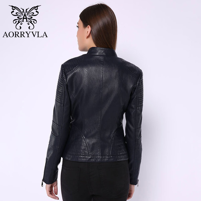 2020 New Fashion Women Leather Jacket Vintage Women's PU Leather Jacket Mandarin Collar Slim Female Black Faux Leather Outwear