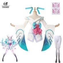 Rolecos jogo lol espírito flor ahri cosplay traje lol branco ahri traje feminino quimono vestido branco halloween conjunto completo