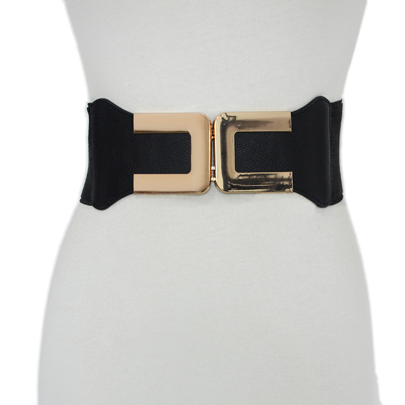 Luxury 2020 New Women Black Elasticated Elastic Wide Belt Ladies Gold Buckle Decorative Skirt Coat Wild Slim Waist Seal Bg-1509