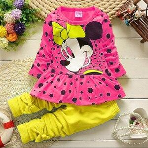 Комплекты одежды для девочек, комплект детской одежды с Микки Маусом, хлопковые топы с бантом, футболка, леггинсы, штаны, комплект из 2 предметов для маленьких детей, костюм для От 0 до 4 лет