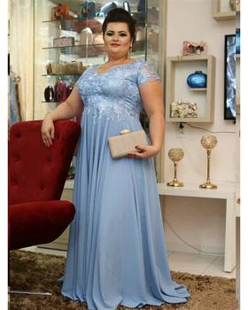Błękitny matka suknia dla panny młodej Plus rozmiar koronkowe szyfonowe krótkie rękawy długie formalne Groom matka suknie wieczorowe tanie i dobre opinie Bridalaffair Długość podłogi -Line Aplikacje Koronki Mother of the Bride Dresses Matka panny młodej suknie REGULAR