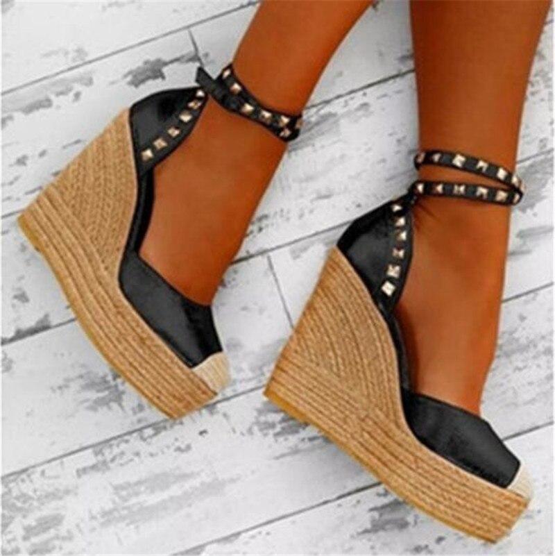 Plus Size 34-44 Fashion Women Summer Open Toe Wedges Sandals Buckle Strap Platform Women Sandals Front Rear Strap Wedges Shoes
