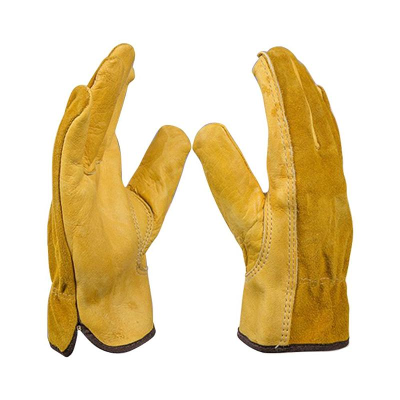 Gardening Gloves For Roses Leather Work Gloves Anti-slip Driver Garden Gloves For Mechanical Repair Tool Digging Planting Tool