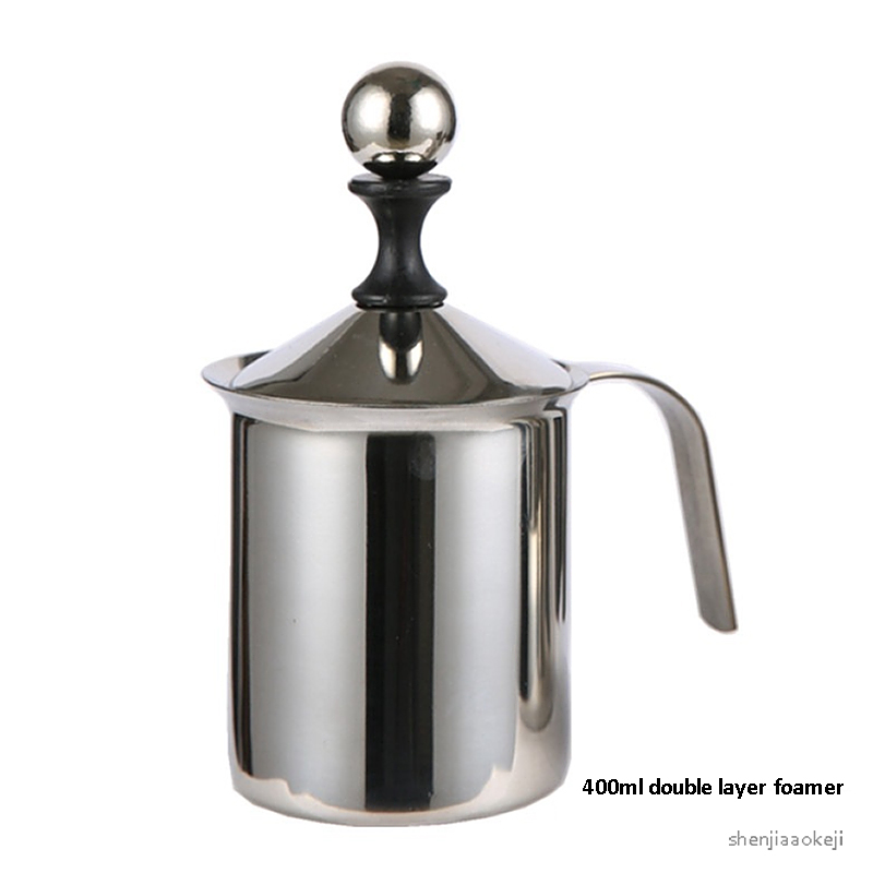 0.4L Manual Milk Frother Stainless Steel Double Milk Creamer Milk Foam Mesh Coffee Foamer Creamer For Caffee,milkshake 1PC