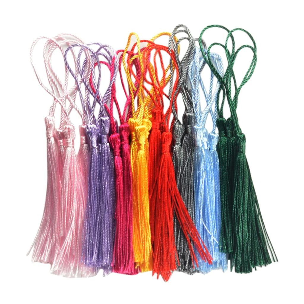 30 шт., разноцветные нити, Классический ассортимент кисточек с петлями для шнура