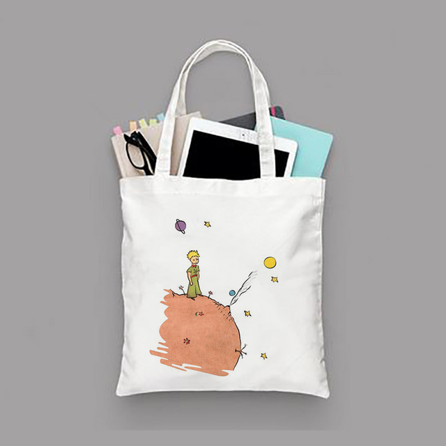 Little Prince Series Printing Canvas Tote Bag Eco Bag Reusable Shopping Bag Recycled Fashion Handbag Daily Use 2