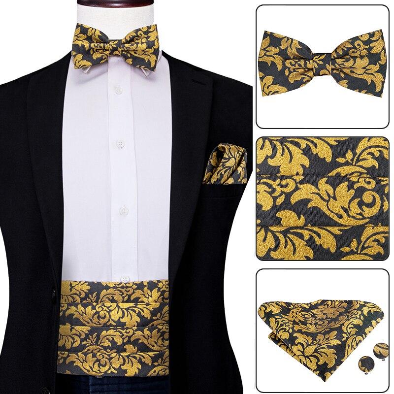 YF-2017 Hi-Tie Luxury Silk Men's Formal Wedding Party Floral Cummerbund Bow Tie Hanky Cufflinks Set Golden Tuxedo Cummerbunds