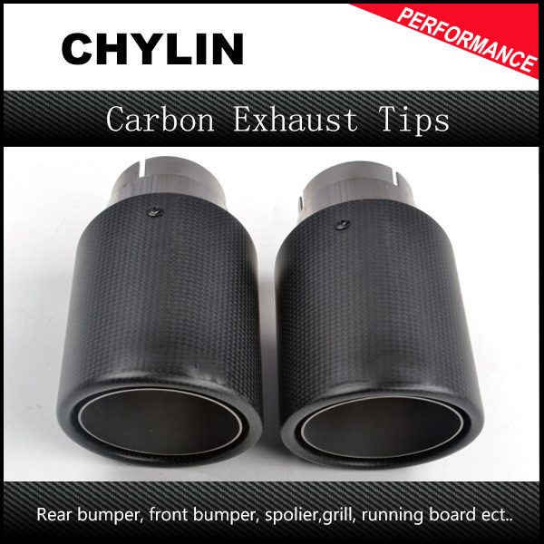 2PCS New style 76mm In-101mm Out Ak Carbon Fiber Universal Exhaust Tip Muffler