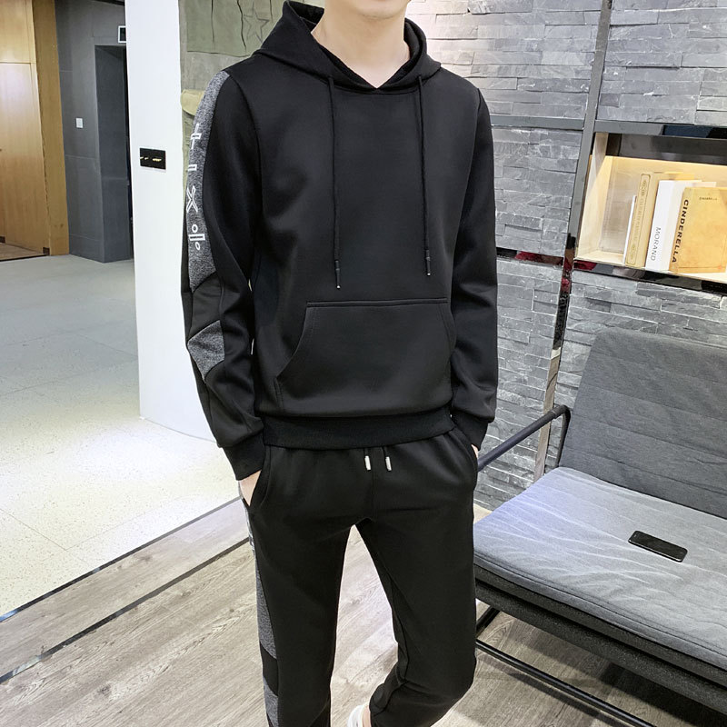 2019 Spring New Style MEN'S Hoodie Youth Casual Base Shirt Stand Collar Hoodie Skinny Pants Two-Piece Set