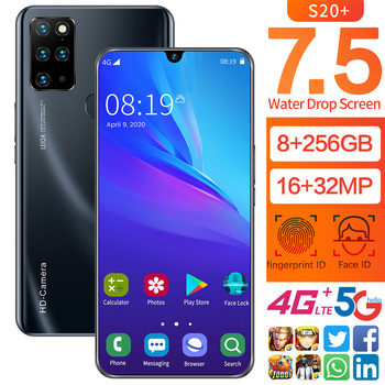 7.5 Inch Galay S20 Network Free Shipping 8GB RAM 256GB ROM Octa Core 4 Camera Snapdragon 855 2020 Smart Phone Wholesale