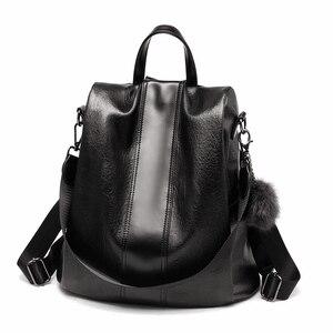 Image 1 - 2020 New Fashion Women Backpack Vintage PU Leather shoulder bag Backpacks large capacity For Female Travel Bags Mochila School