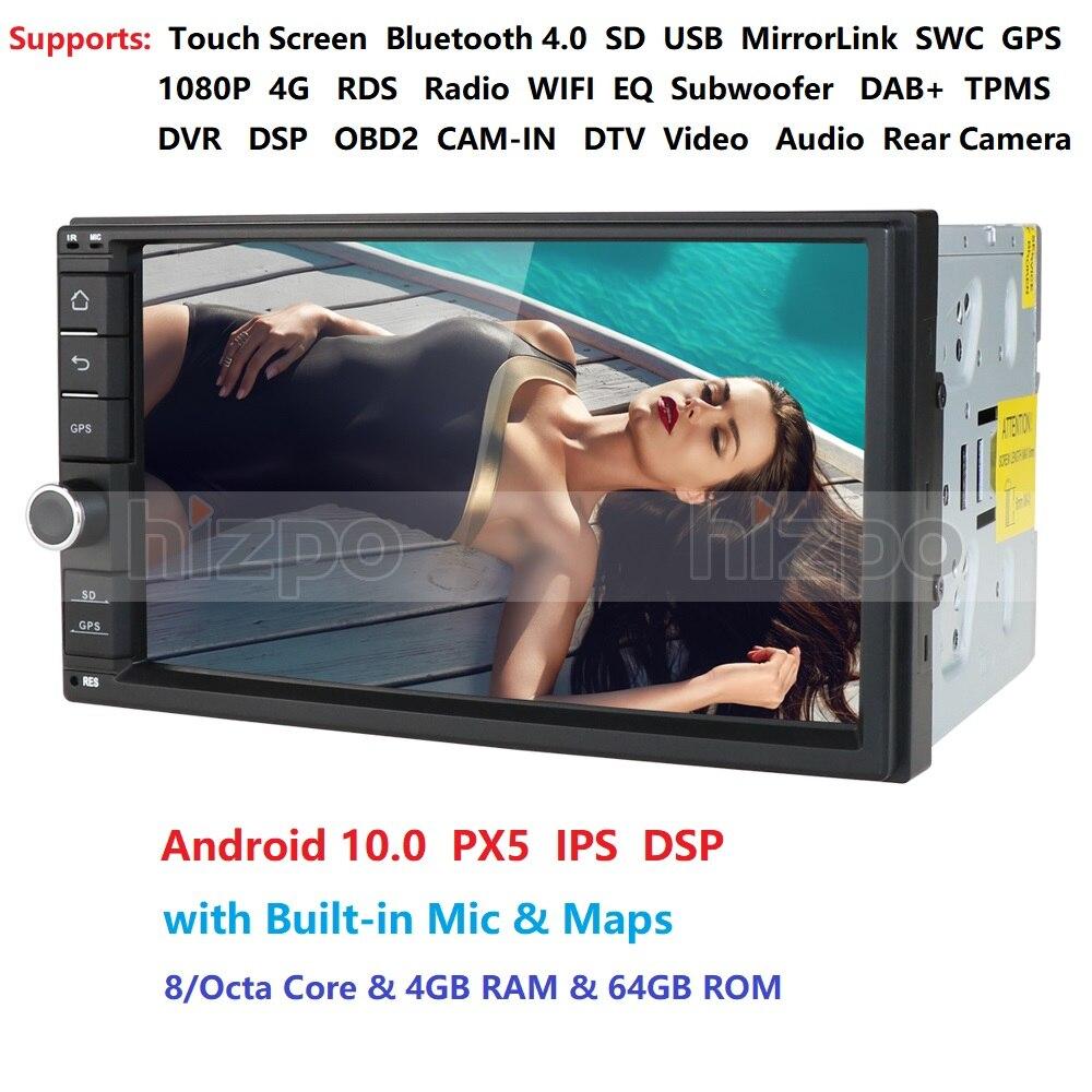 2 Din 7 ''Восьмиядерный Универсальный Android 10 4 ГБ ОЗУ 64 Гб ПЗУ автомобильное радио стерео GPS навигация WiFi 1024*600 сенсорный экран 2din автомобильный П...