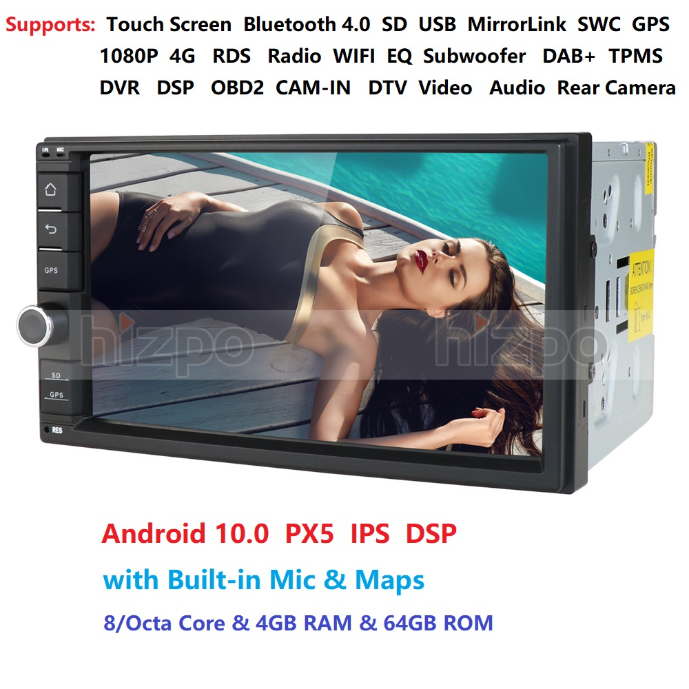 2 Din 7'' Octa core Universal Android 10 4GB RAM 64G ROM Auto Radio Stereo GPS Navigation WiFi 1024*600 Touch Screen 2din Auto PC
