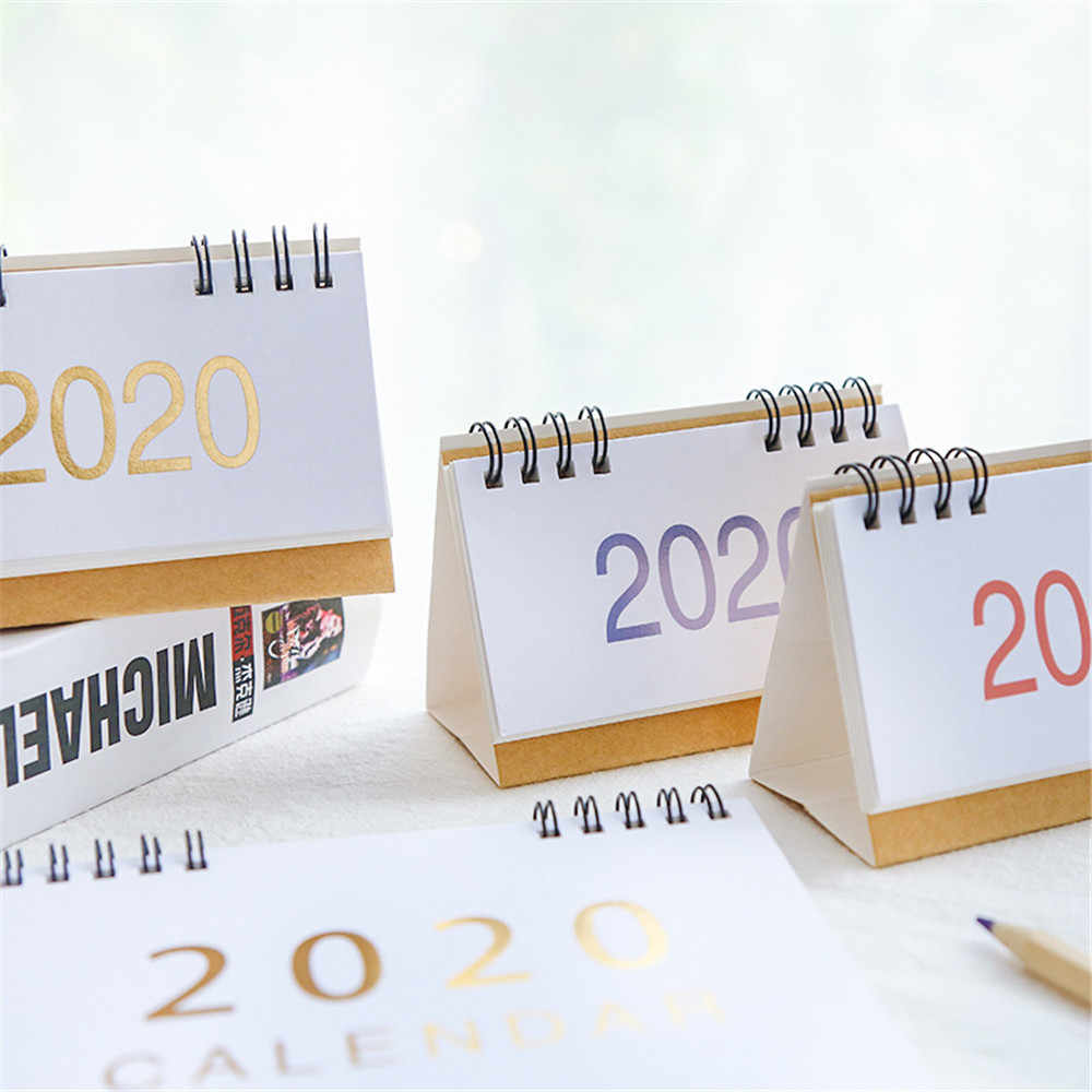 New 2020 S/M/L Retro Kraft Paper Calendar Simple Desktop Calendar Annual Schedule Planner Agenda Organizer 2019.08-2020.12