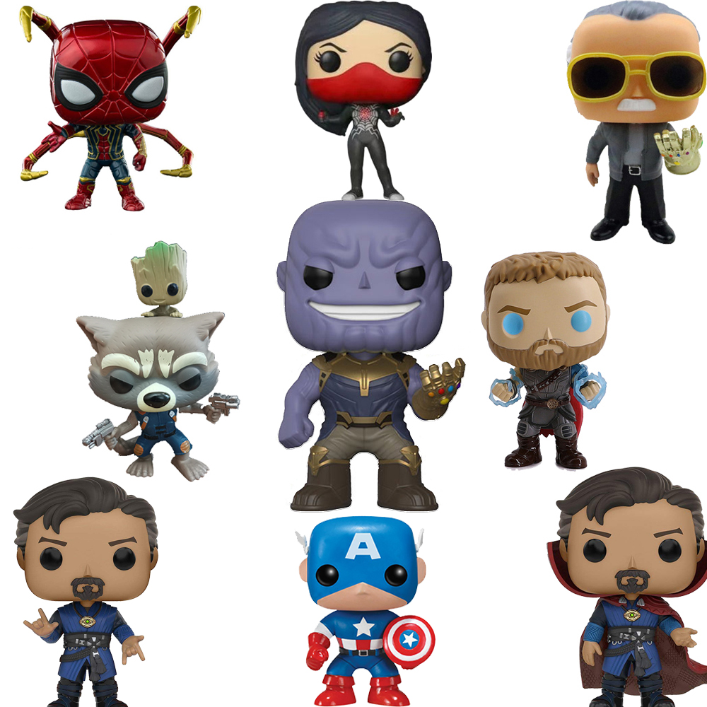 FUNKO POP Marvel Legends Avengers Iron Man Captain America Funko PVC Action Figure Originais Box Christmas Gifts F48