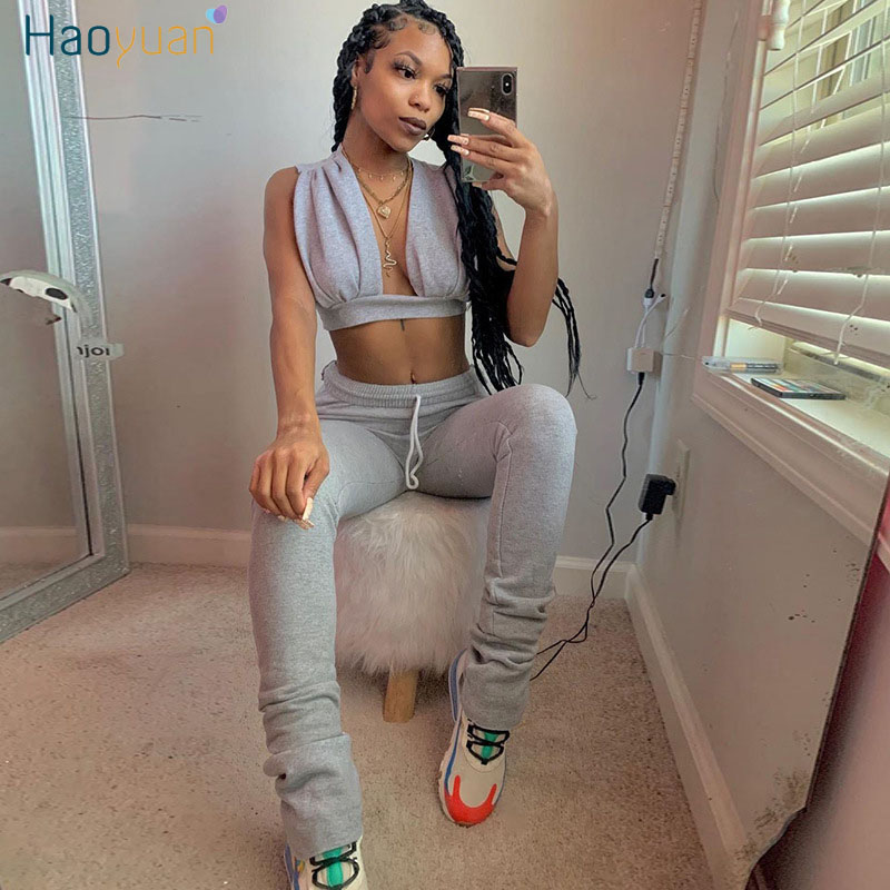 HAOYUAN Two Piece Set Summer Outfits For Women Tracksuit Crop Top And Bodycon Pants Sweat Suits Lounge Wear Sports Matching Sets
