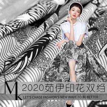 135 cm width printed natural silk fabric meter mulberry silk double crepe fabric draped shirt dress fabric wholesale silk cloth