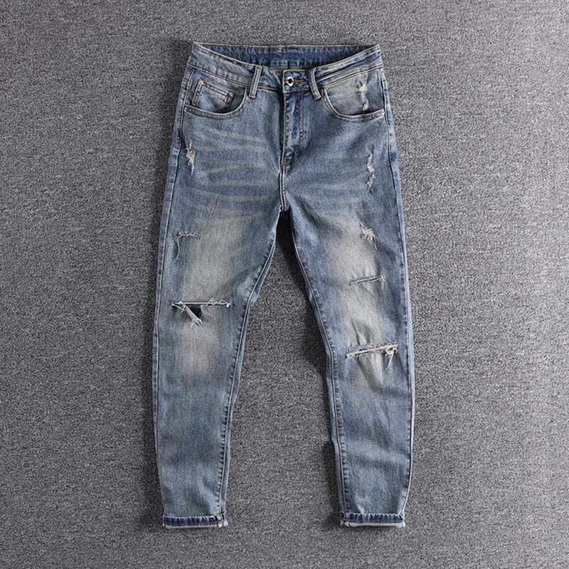 2020 New Arrival Retro Hole Slim Leg European And American Fashionable Men's Jeans Cropped Pants High Quality Trouser Promotion