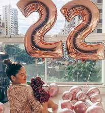 32 inch Big Foil Number Balloon Rose Gold Helium Air Happy Birthday Party Anniversary Decorations Kids Favor Supplies Balloon(China)