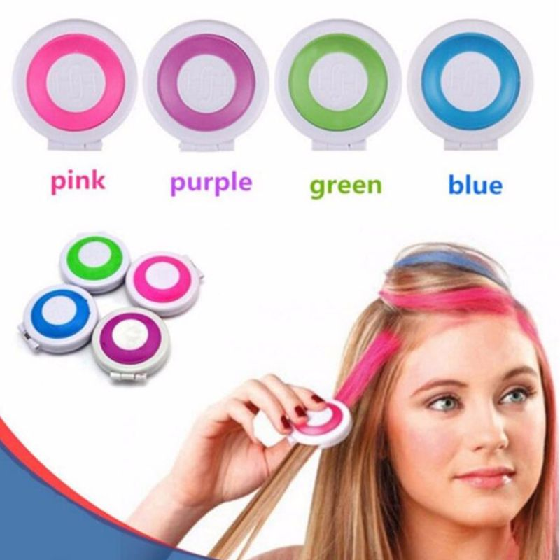 4 Colors Bright Temporary Hair Dye Powder Cake Washable DIY Coloring Cream Chalk Set for Adult Kids Festival Party Accessories