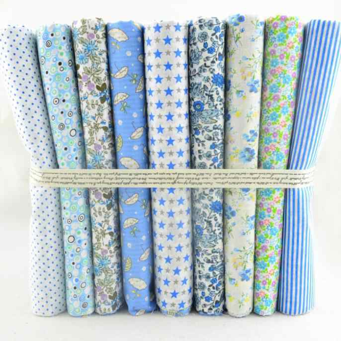 "Booksew 50CMx50CM 9 Designs Assorted ""Kawaii Blue"" Cotton Fabric Scrapbooking Patchwork Fabric Tilda cloth Quilting"