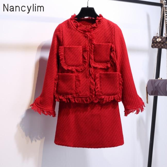 Autumn Winter Elegant Women Tweed Skirt Sets Temperament Lady Small Fragrant Wind Tweed Jacket + Skirt Two Piece Suits Nancylim