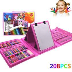 208 Uds. Juego de dibujo lápices de colores acuarelas para niños estudiantes juego de arte pinceles de pintura