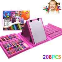 208 pièces peinture ensemble de dessin Crayon crayons de couleur aquarelles stylos pour enfants enfants étudiant artiste Art ensemble pinceaux