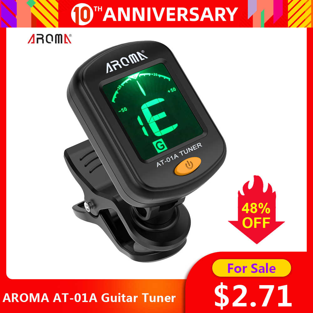 Aroma AT-01A Tuner Gitar Rotatable Clip-On Tuner Mini LCD Display untuk Chromatic Gitar Bass Ukulele Biola