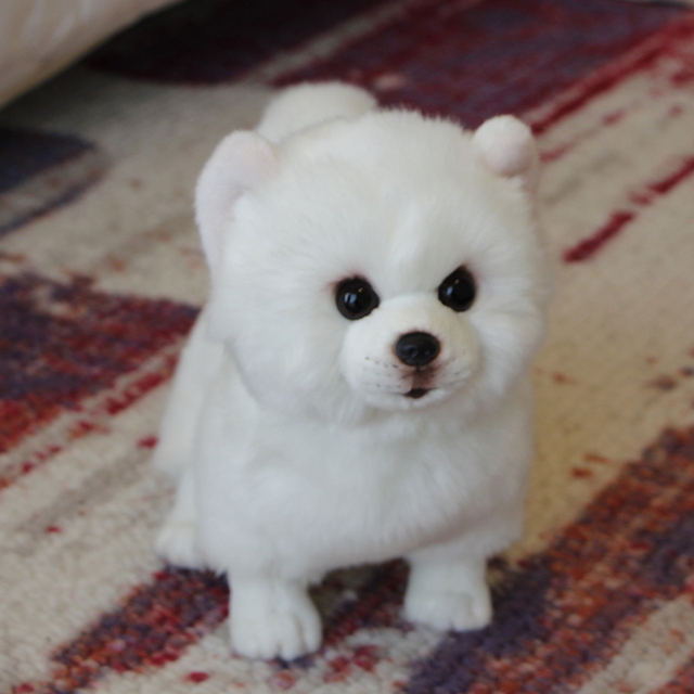 2pcs Plush Pomeranian Dog Doll Simulation Stuffed Animal Toys Super Realistic Dog Toy For Pet Lovers Luxury Home Decor White