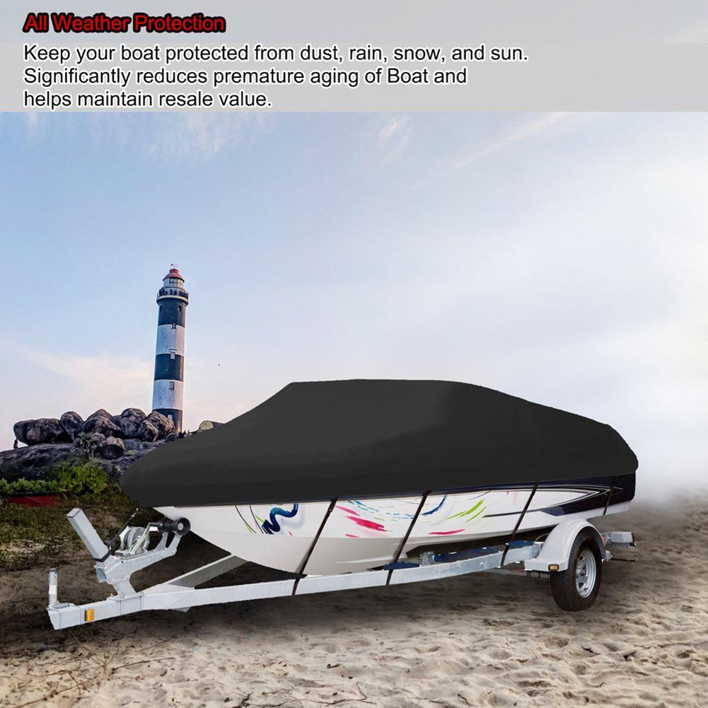 Nouvelle couverture imperméable de bateau 210D couverture de Yacht Protection UV infrarouge en forme de V bleu bateau couvre les couvertures de Ski de pêche # SW