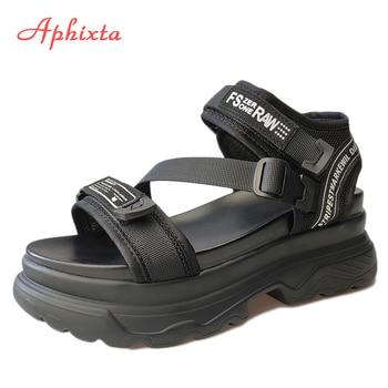 Aphixta Big Size 43 Luxury Designers Platform Women Sandals Black Chunky Sandal Sports 7cm Wedge Shoes For Woman Summer - discount item  50% OFF Women's Shoes