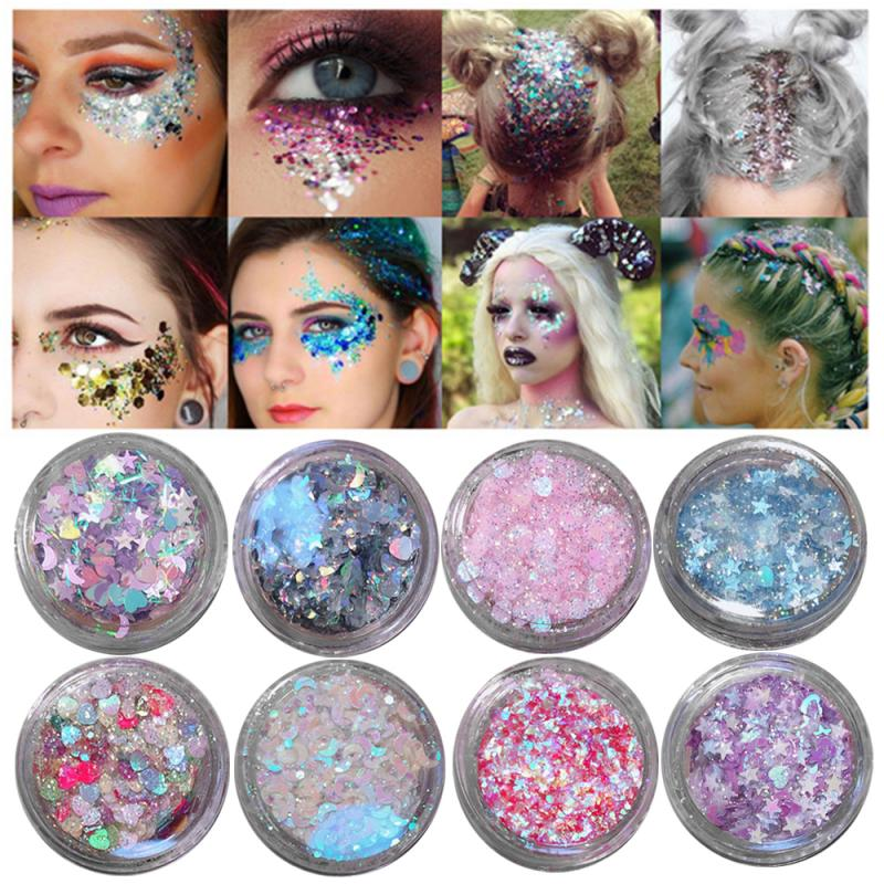 20 Color Shiny Eye Shadow Multicolor Highlighter Makeup Face Powder Long-lasting Glitter Love Stars Stickers Pearl Powder TSLM2